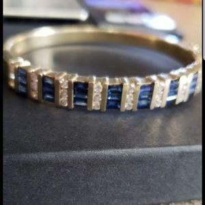 Jewelry - heavy solid 14kt diamond sapphire  bracelet